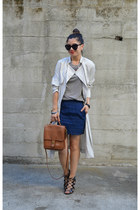 trench H&M jacket - willis coach bag - scallop hem Forever 21 skirt