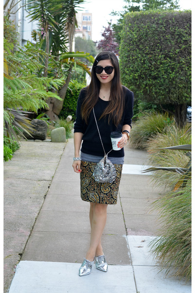 metallic Nordstrom shoes - H&M sweater - sequin free people bag