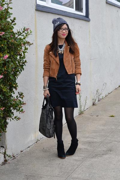 leather biker madewell jacket - black asos boots - black Gap dress - asos hat