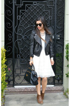 leather H&M jacket - Old Navy boots - Anthropologie dress - Prada bag