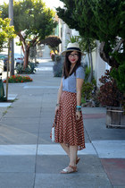 polka dot thrifted skirt - panama H&M hat - wristlet coach bag