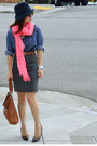 Reiss-hat-chambray-thrifted-shirt-zara-scarf-leather-banana-republic-bag