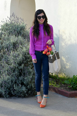 big buddha bag - Forever 21 jeans - purple H&M shirt - shoemint flats