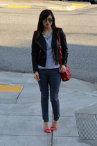 leather H&M jacket - Forever 21 jeans - stripe H&M shirt - tory burch bag