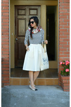 stripes Forever 21 shirt - floral H&M scarf - H&M skirt - LeBunny Bleu flats