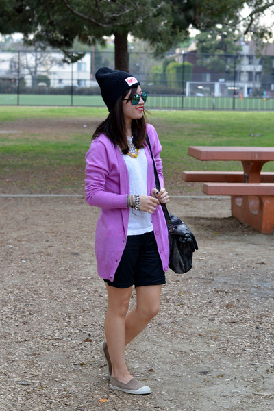 liliac cotton on cardigan - Curtis Kulig x UO hat - foley & corinna bag