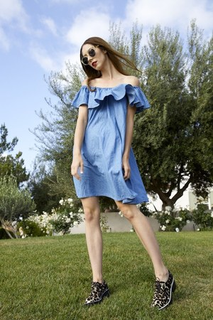 alec SANDRO shoes - Alexa Chung for AG dress - leonard ii Illesteva sunglasses
