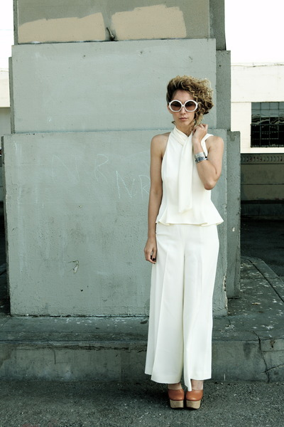 silk armani pants - Pierre Cardin sunglasses - silk armani blouse