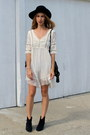 blue suede Isabel Marant boots - white lace free people dress - vintage hat