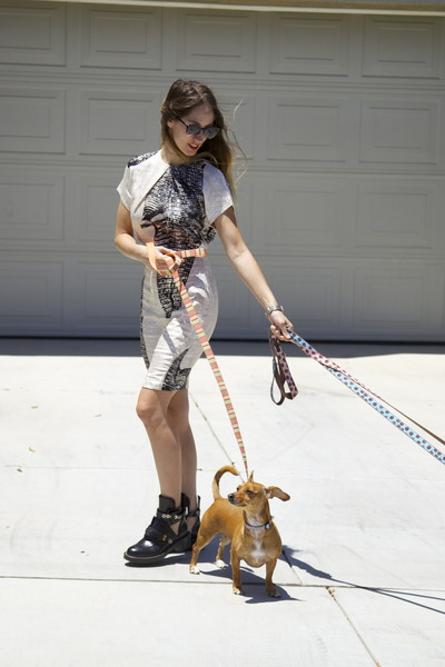 cut out balenciaga boots - acne dress - lucia Super sunglasses