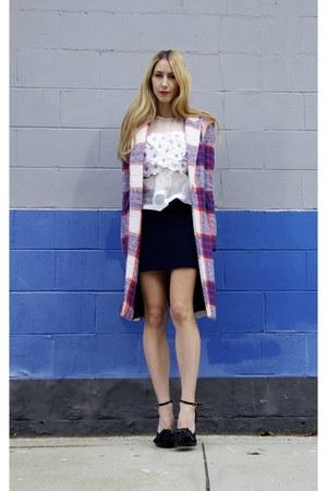 tartan Zara coat - flower organza Chloe top - knit Isabel Marant skirt