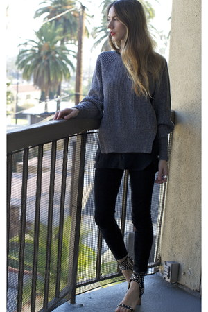 knit Isabel Marant sweater - acne jeans - caroll Isabel Marant sandals