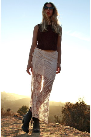 crochet Reformation skirt - pistol acne boots - lucia Super sunglasses