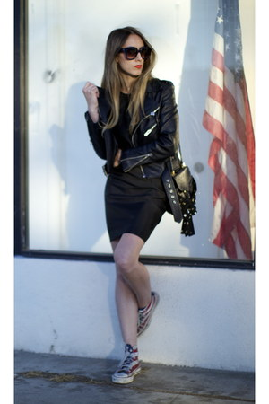 motorcycle UNIF jacket - acne dress - studded Chloe bag