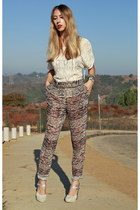 Isabel Marant pants - Isabel Marant top - metallic pastel Dries Van Noten heels