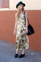 jaycee acne shoes - prowl print AGAIN dress - bucket Mansur Gavriel bag