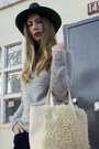 Celine-boots-mm6-hat-knit-creatures-of-comfort-sweater-fuzzy-tote-ys-bag