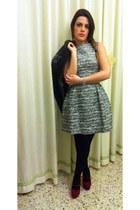 gray Zara dress - black Topshop jacket - brick red Topshop heels
