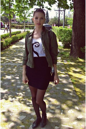 charcoal gray Atmosphere shoes - olive green Pull and Bear jacket - black skirt