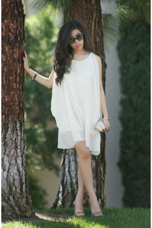 cream OASAP dress - ivory TJ Maxx bag - black Chanel sunglasses