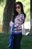 navy j brand jeans - navy OASAP jacket - blue Erica Anenberg bag