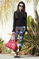 black Chanel sunglasses - brick red Jimmy Choo bag - navy H&M pants