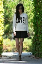 black Sparkle and Fade shorts - ivory Forever 21 sweater