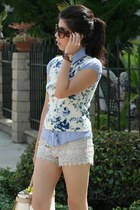 off white lace shorts - navy sweater - off white Reed Krakoff bag