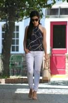 navy Zara top - white Paris Blues jeans - eggshell Reed Krakoff bag