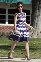 deep purple Taylor dress - orange dior sunglasses - light pink Marco Santi heels