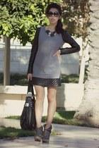 black OASAP dress - charcoal gray Mesecca boots - black Kooba bag