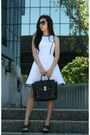 White-dress-black-31-phillip-lim-bag-black-baldinini-heels