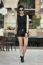 black Michael Kors boots - black Zara bag - black shorts