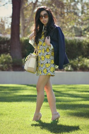 yellow PERSUNMALL dress - navy BB Dakota blazer - cream Reed Krakoff bag