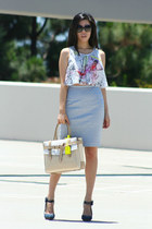 blue LAMB heels - tan leather Reed Krakoff bag - black Chanel sunglasses