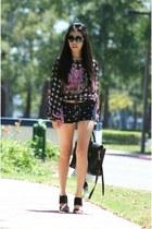 black 31 Phillip Lim bag - black Zara shorts - black Saks Fifth avenue heels