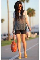 navy Zara shorts - carrot orange Charles David bag
