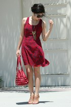 ruby red Sugarlips dress - ruby red Jimmy Choo bag - black Chanel sunglasses