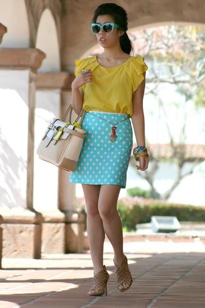 aquamarine sunglasses - off white Reed Krakoff bag - yellow Zara top