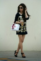 navy OASAP dress - black Chanel sunglasses - navy LAMB heels