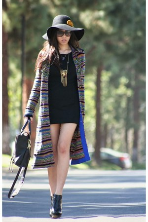 black Micheal Kors boots - black vintage dress - blue Anthropologie coat