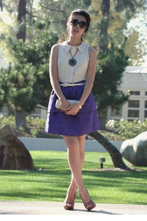 deep purple Sugarlips dress - off white bag - black Chanel sunglasses