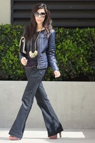 navy Forever 21 jacket - navy Rebecca Minkoff bag - black Chanel sunglasses