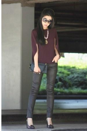 black leather Louis Vuitton bag - deep purple rachel roy top