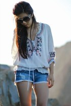 ivory top - black 31 Phillip Lim bag - sky blue TJ Maxx shorts