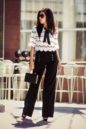 black bag - black kensie pretty pants - white Sister Jane top