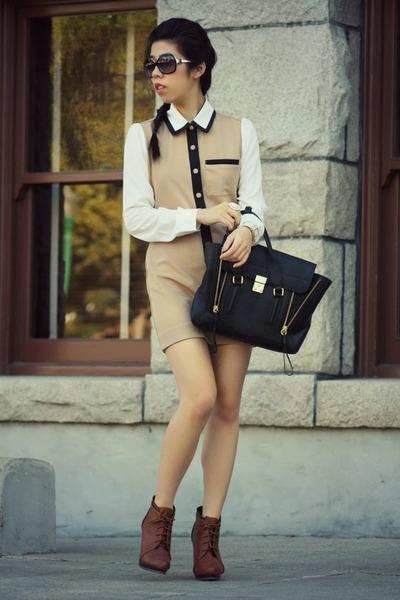 black 31 Phillip Lim bag - tan OASAP dress - black Chanel sunglasses