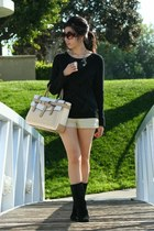 black Tahari boots - black Vivienne Tam sweater - off white Reed Krakoff bag