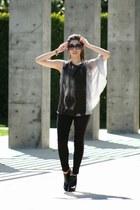 black Michael Kors boots - black Chanel sunglasses - black Zara pants