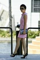 light pink PIOL dress - black ted baker bag - black Chanel sunglasses
